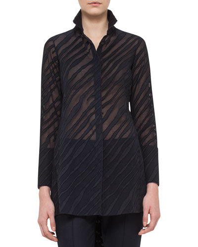 Zebra Voile Devore High-Low Tunic, Starling