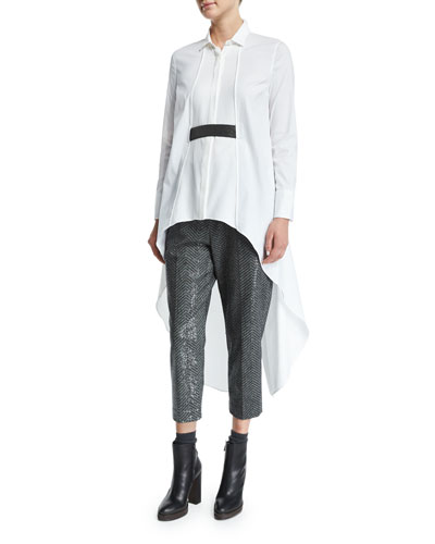 High-Low Tunic W/Monili Belt, White/Ultra Black