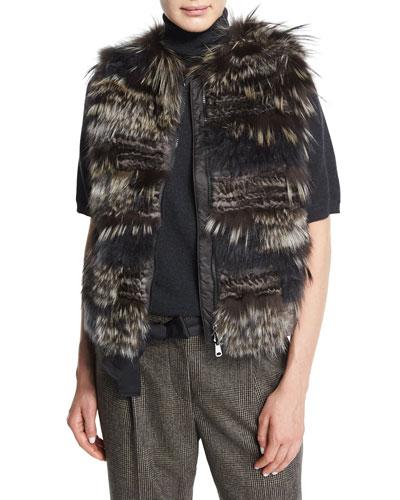 Zip-Front Fox-Fur Vest, Volcano