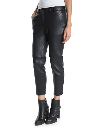 Skinny Cropped Leather Pants, Black