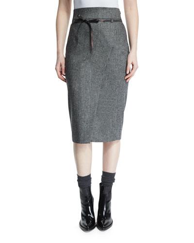 High-Waist Belted Pencil Skirt, Onyx
