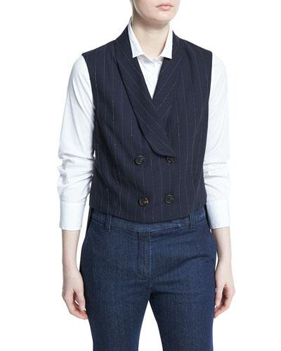 Double-Breasted Monili-Pinstripe Vest, Navy