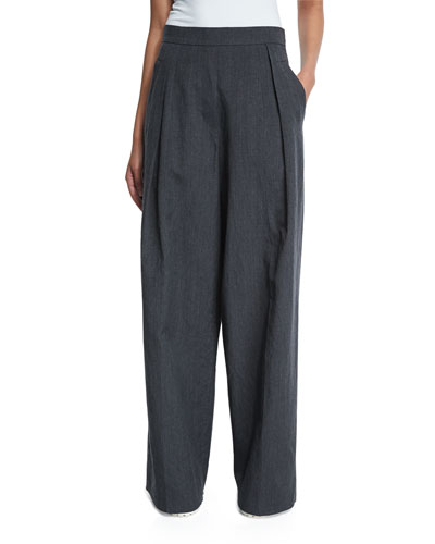 Pleated-Front Ultra Wide-Leg Pants, Dark Gray