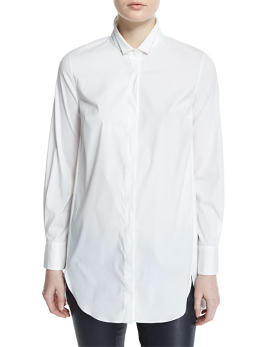Button-Front Slim-Fit Tunic, White