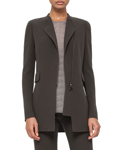 Asymmetric Zip-Front Long Jacket, Turtle