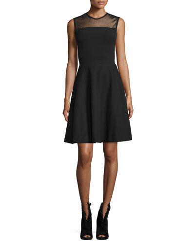 Mesh-Yoke Fit-&-Flare Dress, Black