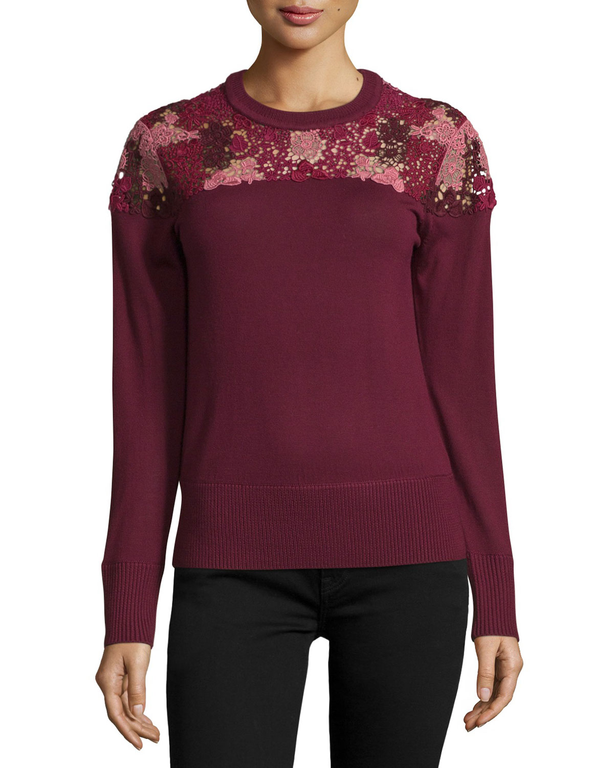 Long-Sleeve Lace-Yoke Sweater, Deep Claret