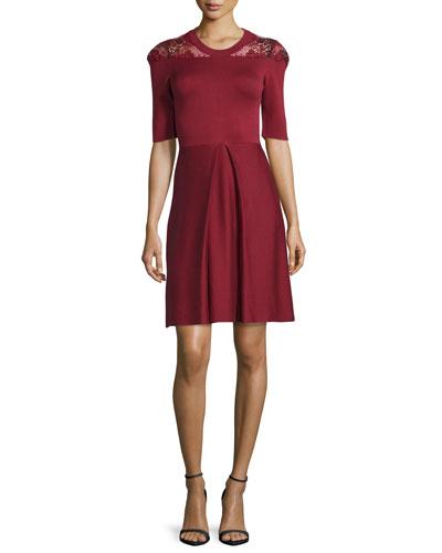 Macrame-Yoke Half-Sleeve Dress, Carmine Red