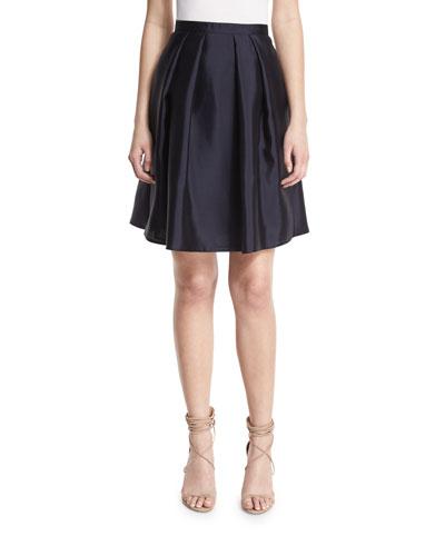 High-Waist Pleated Full Skirt, Navy