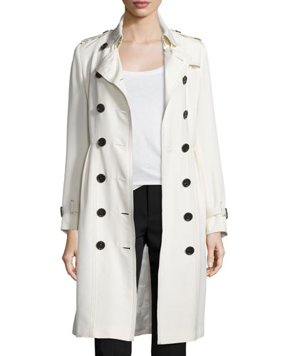 Double-Breasted Trench Coat W/Tuck Pleats, Parchment