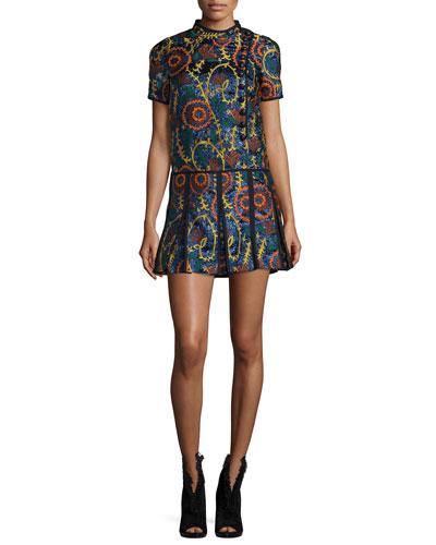 Short-Sleeve Jacquard Drop-Waist Dress, Navy