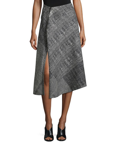 Prince of Wales Asymmetric Skirt, Black/Chalk