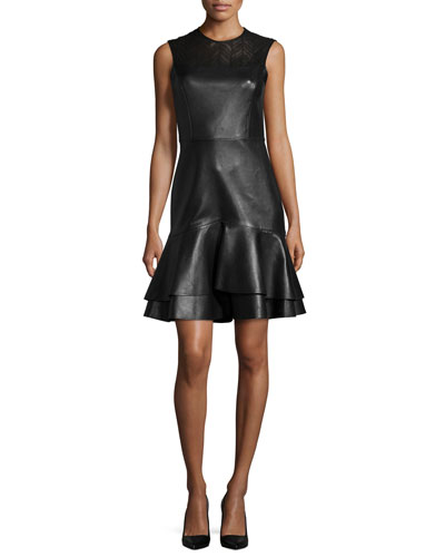 Sleeveless Leather Ruffle-Hem Dress, Black