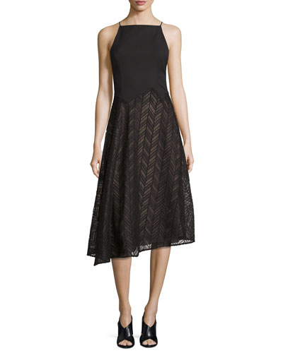 Sleeveless Herringbone Lace Dress, Black