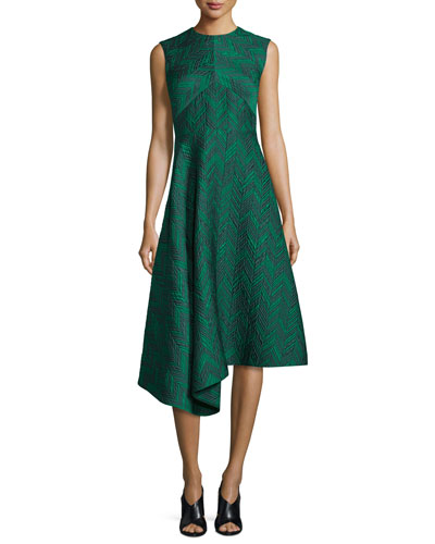 Sleeveless Herringbone Cocktail Dress, Jade