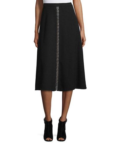 Ring-Detail A-Line Midi Skirt, Black