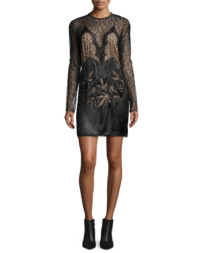 Lace-Inset Long-Sleeve Dress, Black