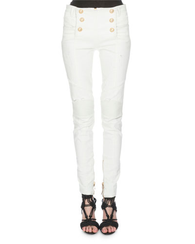 Button-Front Skinny Jeans, White