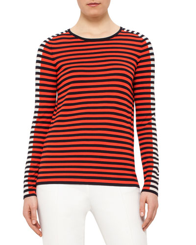 Contrast-Stripe Long-Sleeve Sweater, Navy/Rust/Chalk