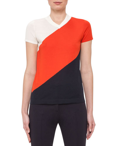 Cap-Sleeve Diagonal-Striped Top, Cream/Rust/Navy