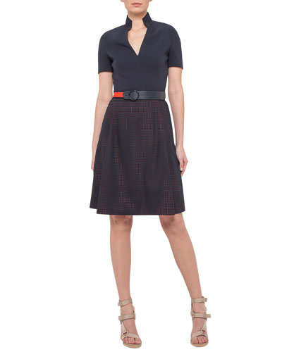 Short-Sleeve A-Line Combo Dress, Navy/Rust