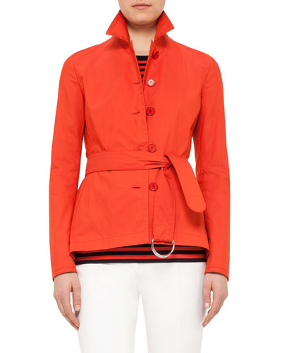 Button-Front Belted Short Trench Coat, Rust
