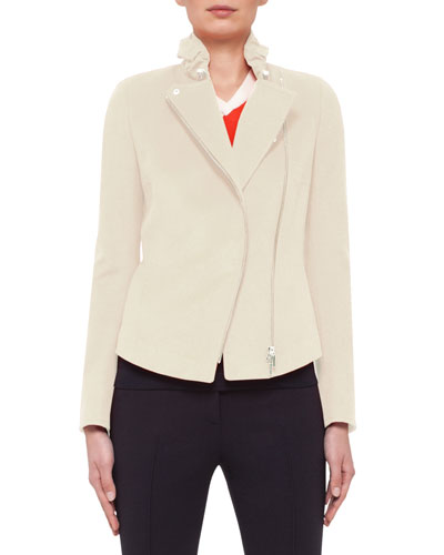 Ruched-Collar Moto Jacket, Cream
