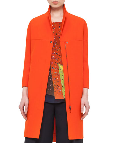 3/4-Sleeve Mid-Length Coat, Rust