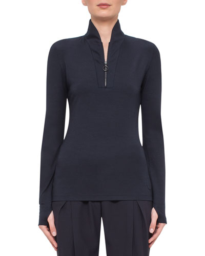 Stand-Collar Zip-Front Pullover, Navy