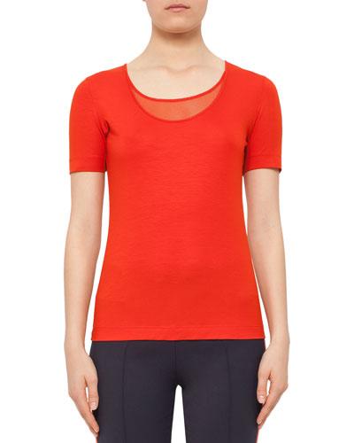Short-Sleeve Mesh-Knit Top, Rust