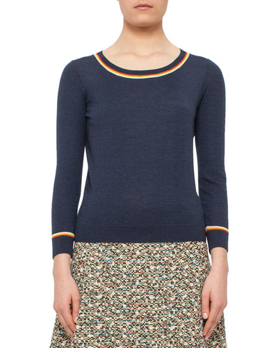 Bracelet-Sleeve Sweater w/Contrast Stripes, Denim