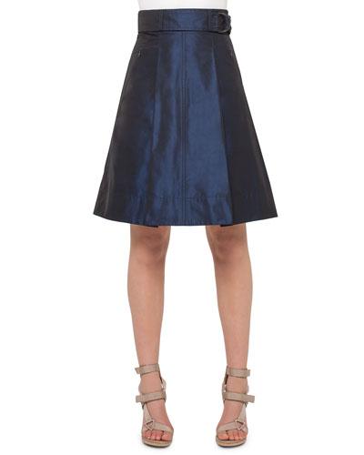 Iridescent High-Waist Belted A-Line Skirt, Navy