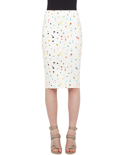 Boulder-Print Midi Pencil Skirt, Cream
