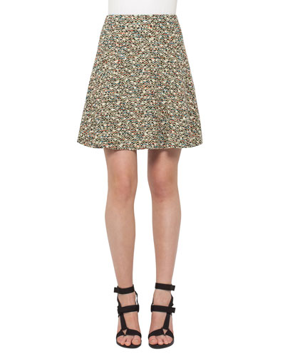 Flounced Static Tweed Skirt, Multi