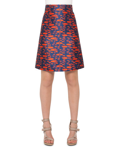 The Oval High-Waist A-Line Skirt, Navy/Rust
