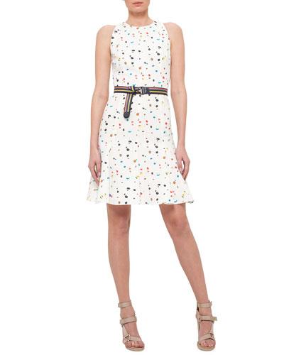 Boulder-Print Flounce-Hem Belted Dress, Cream