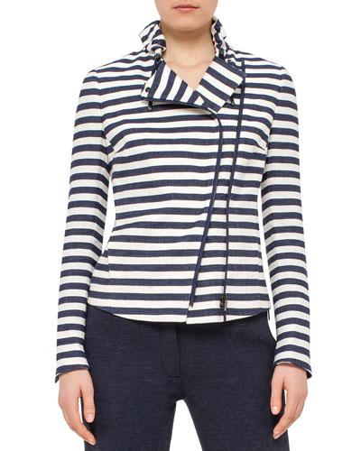 Striped Long-Sleeve Moto Jacket, White/Denim