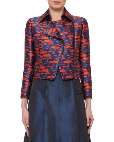 The Oval Moto Cropped Jacket, Navy/Rust