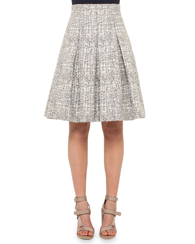 Cross-Stitch A-Line Pleated Skirt, Cliff/Chalk
