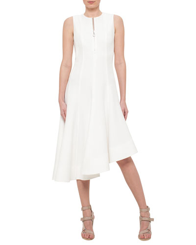 Sleeveless Half-Zip Asymmetric Dress, Cream