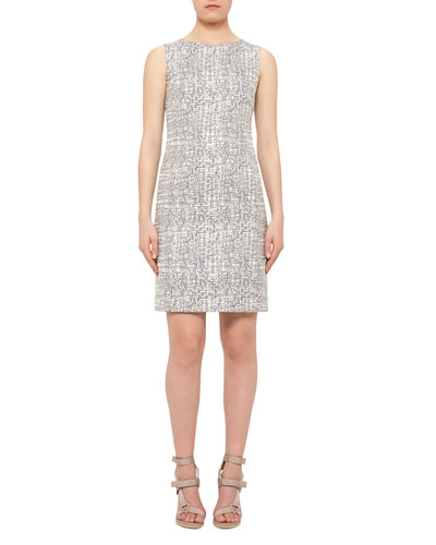 Cross-Stitch Printed Jacquard Sheath Dress, Cliff/Chalk
