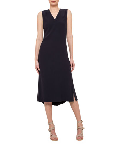 Sleeveless V-Neck Midi Dress, Navy