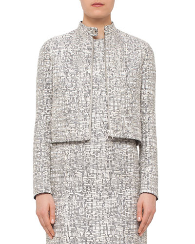 Cross-Stitch Printed Jacquard Jacket, Chalk/Cliff
