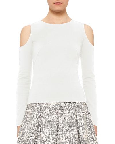 Cold-Shoulder Back-Zip Top, Cream