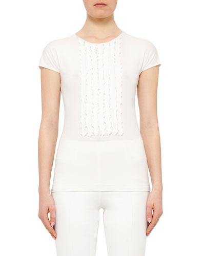 Cap-Sleeve Ruffle-Placket Shirt, Cream