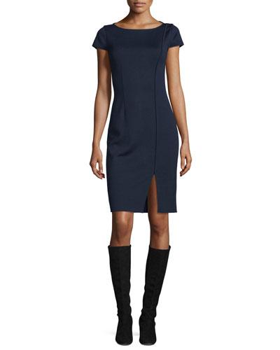 Milano Boat-Neck Cap-Sleeve Dress, Navy