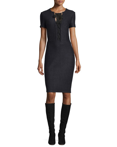 Newport Knit Tie-Neck Short-Sleeve Dress, Caviar