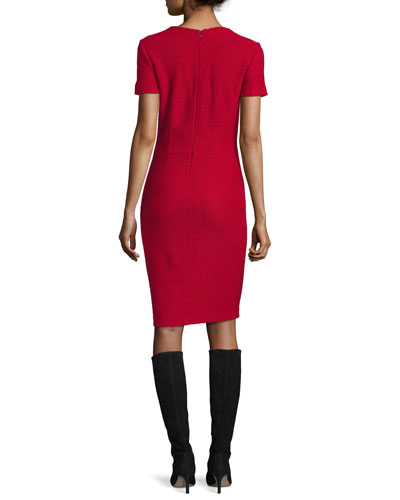 Newport Knit Tie-Neck Short-Sleeve Dress, Ruby