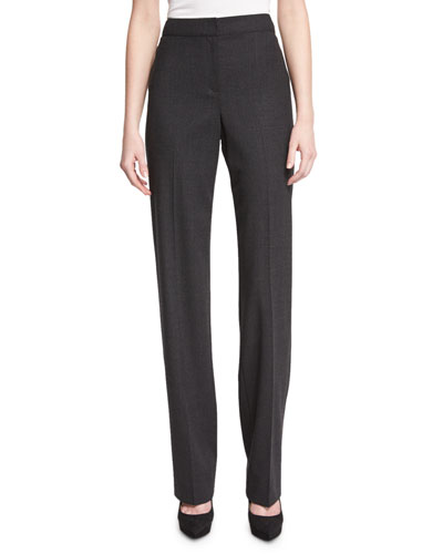 Diana Stretch-Flannel Straight-Leg Pants, Hematite Melange