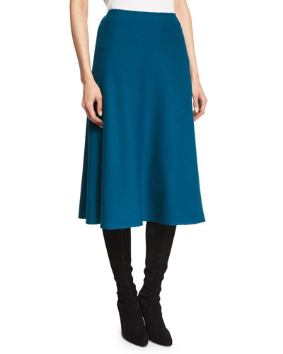 Lattice Piqué-Knit A-Line Skirt, Tanzanite